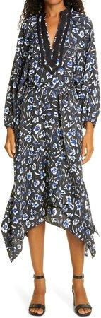 Floral Print Puff Long Sleeve Tunic Dress
