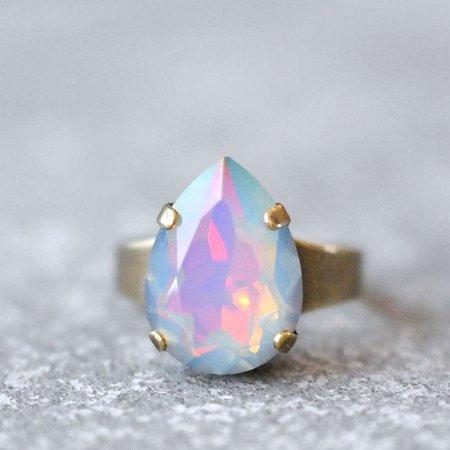 Pastel Rainbow Teardrop Opal Ring