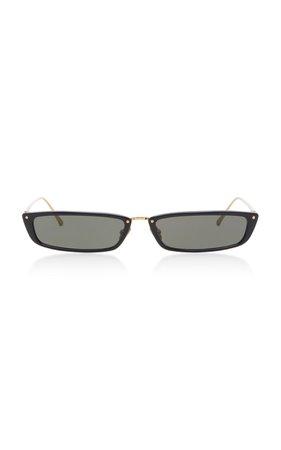 Linda Farrow Rectangle Frame Acetate And Metal Sunglasses