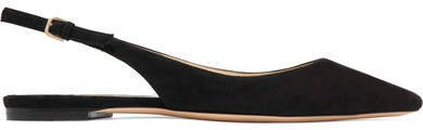 Erin Suede Slingback Point-toe Flats - Black
