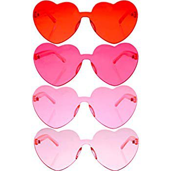 Amazon.com: Gejoy 4 Pieces Heart Shaped Rimless Sunglasses Transparent Frameless Glasses Tinted Eyewear for Women and Girls Party Cosplay (Red, Rose Red, Pink, Light Pink): Toys & Games