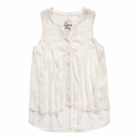 Superdry Boho Lace Button Blouse White, Dressinn