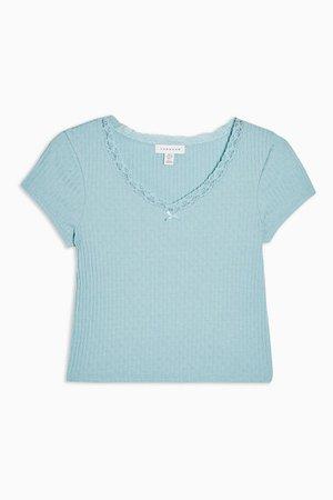 Blue Ribbed Crop Lace Trim T-Shirt | Topshop