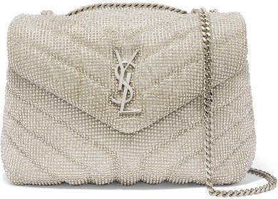 Loulou Small Crystal-embellished Quilted Leather Shoulder Bag - Ecru