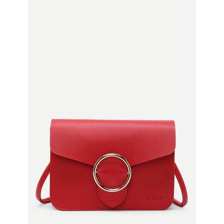 Fashiontage - Red Buckle Front Pu Shoulder Bag - 903662338109