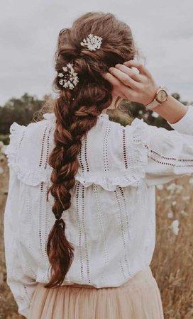 hair flower French braid