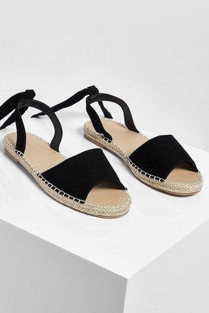 Ankle Tie Espadrille Flat | boohoo black