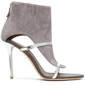 Miley 100 Cutout Metallic Leather-trimmed Suede Sandals