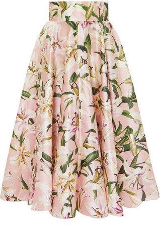Floral-print Silk-satin Midi Skirt - Pink