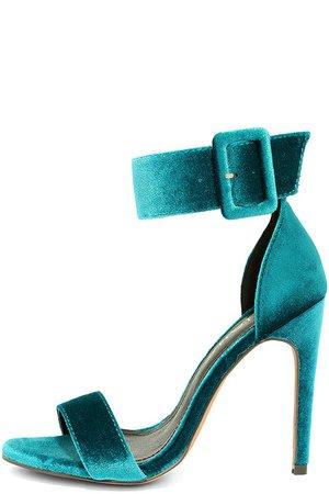 Sexy Teal Heels - Velvet Heels - Ankle Strap Heels - $32.00