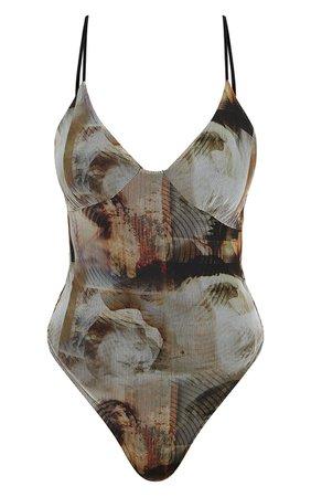 Nude Mesh Abstract Renaissance Print Bodysuit | PrettyLittleThing USA