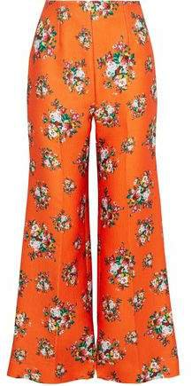 Hullinie Floral-print Cloque Wide-leg Pants