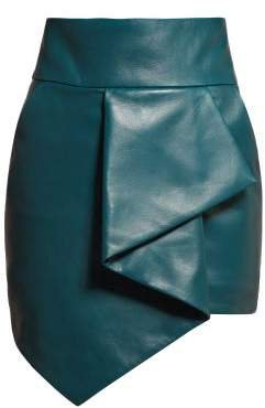 High Rise Asymmetric Hem Leather Skirt - Womens - Blue