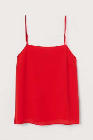 Creped Camisole Top - Red