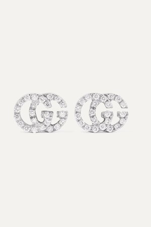 White gold 18-karat white gold diamond earrings | Gucci | NET-A-PORTER