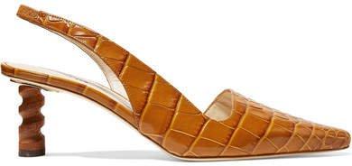 Joan Croc-effect Leather Slingback Pumps - Tan