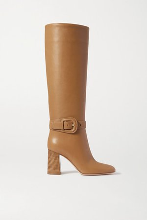 85 Leather Knee Boots - Beige