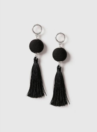 Black Wrap Ball Tassel Earrings | Dorothy Perkins