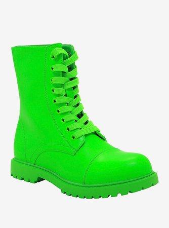 Neon Green Combat Boots