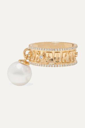 Marlo Laz | Je Porte Bonheur 14-karat gold, diamond and pearl ring | NET-A-PORTER.COM