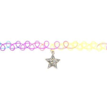 Claire's Club Star Rainbow Tattoo Choker Necklace | Claire's US