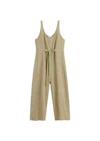 MANGO Textured long jumpsuit