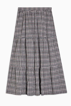 Gray Check Tiered Midi Skirt | Topshop