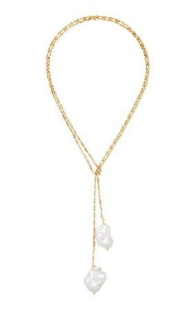 Nell 24k Gold-Plated Freshwater Pearl Lariat Necklace By Brinker & Eliza | Moda Operandi