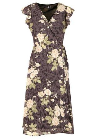 Floral Ruffle Wrap Skater Dress | boohoo