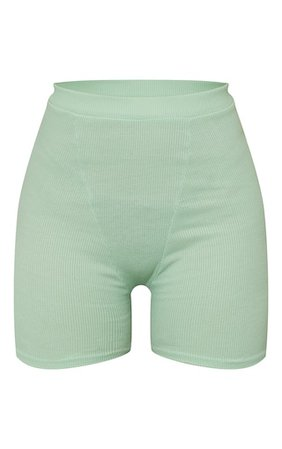 Mint Ribbed Cycle Shorts | Co-Ords | PrettyLittleThing
