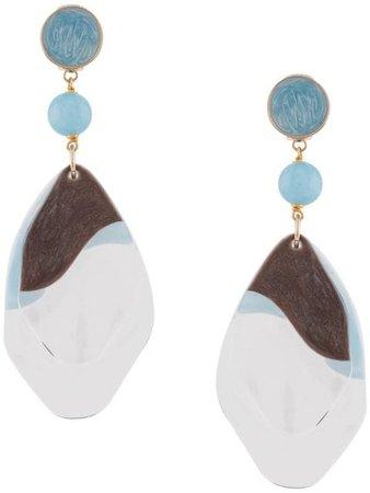 Giorgio Armani Hanging Pendant Earrings 61Z6420P362 White | Farfetch