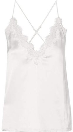The Everly Lace-trimmed Silk-charmeuse Camisole - White