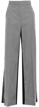 Paneled Houndstooth Wool And Canvas Wide-leg Pants