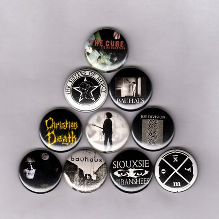 """GOTH 1"""" PINS / BUTTONS w/ JOY DIVISION BAUHAUS SIOUXSIE CURE SISTERS MERCY 