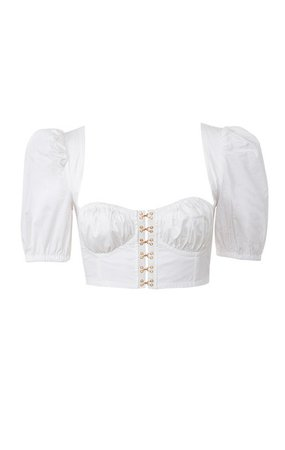 Clothing : Tops : 'Tia' White Puff Sleeved Corset Top