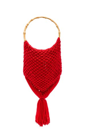 Macrame Bag with Bamboo Handle