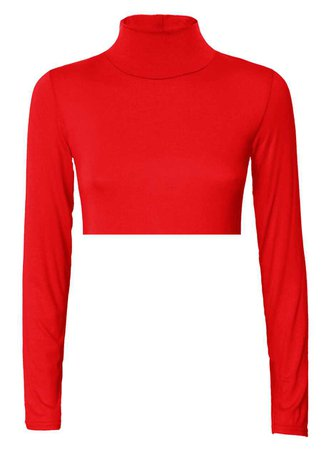 Cropped Red Turtleneck