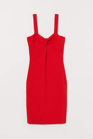 Fitted Ribbed Dress - Red