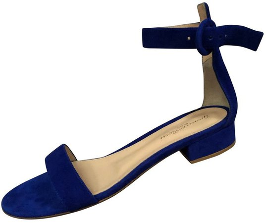 Portofino Blue Suede Sandals