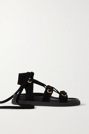 Ibiza Suede Sandals - Black