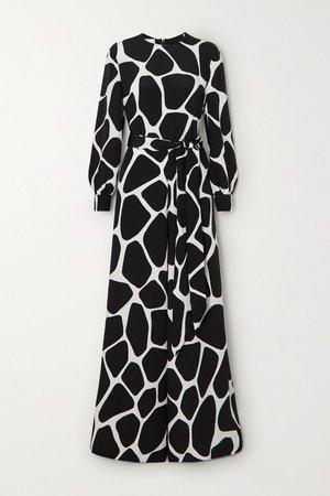 Black Belted printed silk-crepe jumpsuit | Valentino | NET-A-PORTER