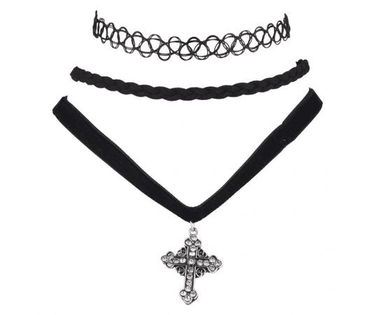 Black Tattoo Suede Braid Velvet Cross Choker Set (3PCS)