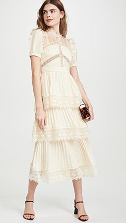 Self Portrait Lace Trim Midi Dress | SHOPBOP