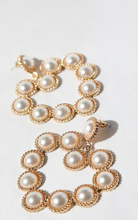 Gold Pearl Heart Statement Earrings | PrettyLittleThing