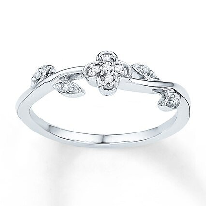 Midi Flower Ring Diamond Accents Sterling Silver - 2366530099 - Kay