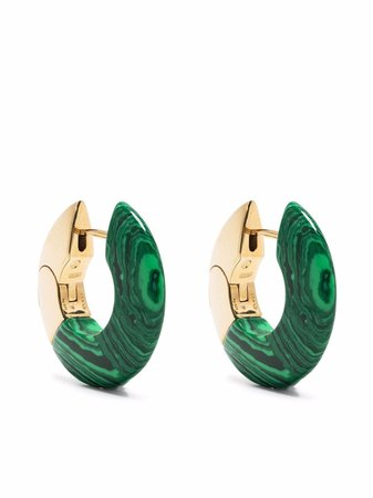 Bottega Veneta gold-plated Silver Malachite Hoop Earrings - Farfetch