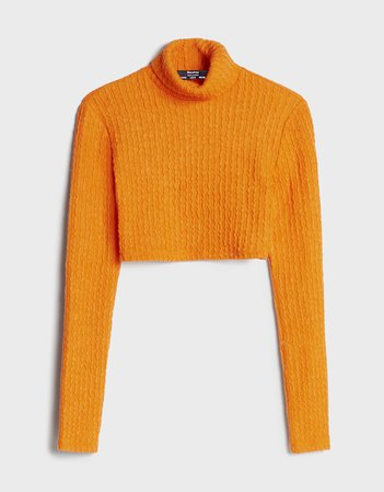 Cropped turtleneck sweater - Sweaters and Cardigans - Woman | Bershka