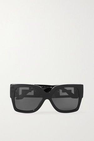 Black Square-frame acetate and gold-tone sunglasses | Versace | NET-A-PORTER