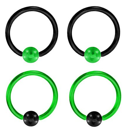 "Amazon.com: 2 Pair of Unique Custom Green & Black Captive bead Ring lip, belly, nipple, cartilage, tragus, septum, earring hoop - 16g 3/8"": Jewelry"