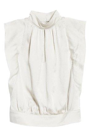 FRAME Keyhole Flutter Sleeve Silk Blouse | Nordstrom